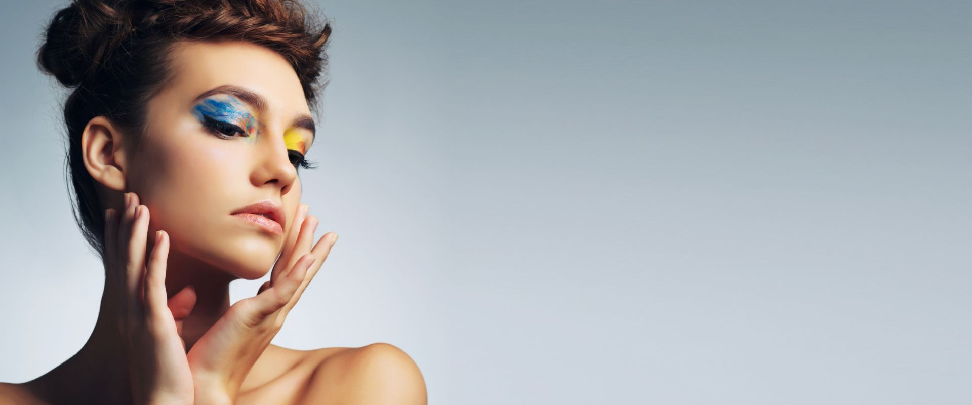 woman with colorful eyelashes
